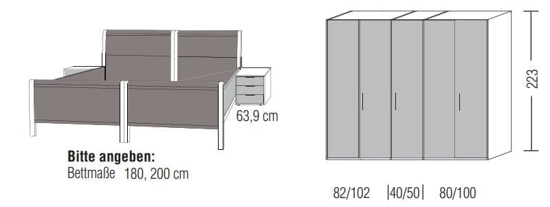 Loddenkemper Schlafzimmer Multi Comfort Zusammenstellungen mit Bettanlage B