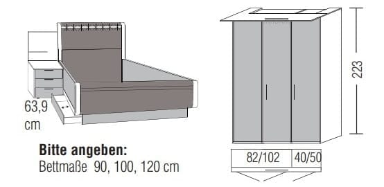 Loddenkemper Schlafzimmer Multi Comfort Zusammenstellungen mit Bettanlage CL