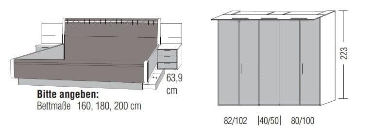 Loddenkemper Schlafzimmer Multi Comfort Zusammenstellungen mit Bettanlage C